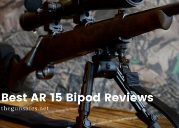 rifle on a bipod on a wooden table