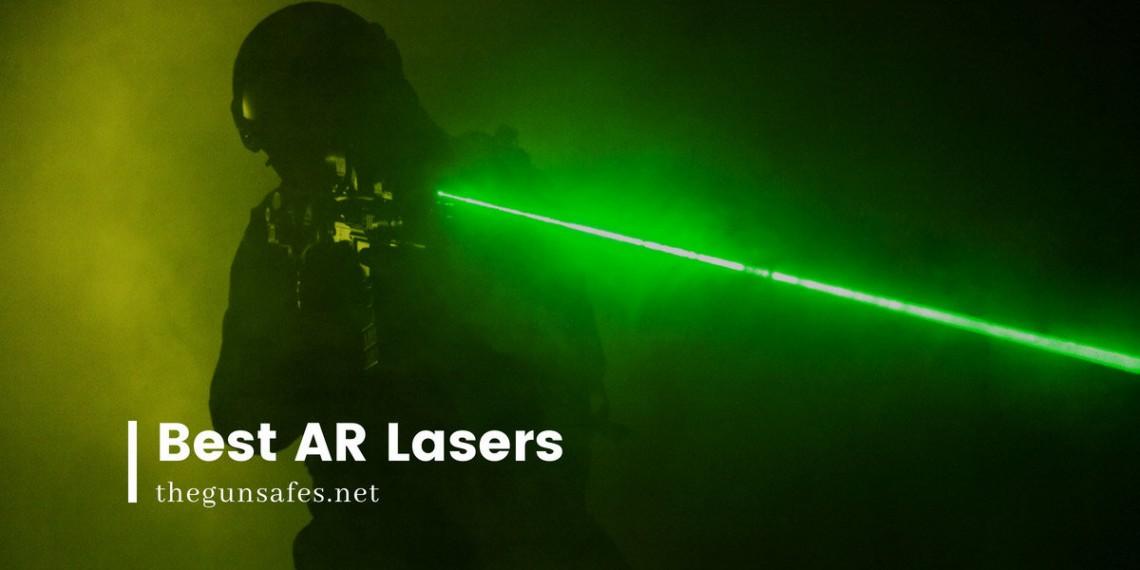 green laser from a gun in a dark room