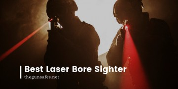 two silhouettes of men with red lasers