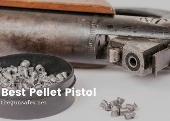 circular tin with pellets and a pistol laying beside it