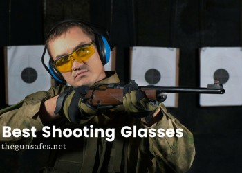 Yellow shooting safety glasses, blue ear muffs at a shooting range