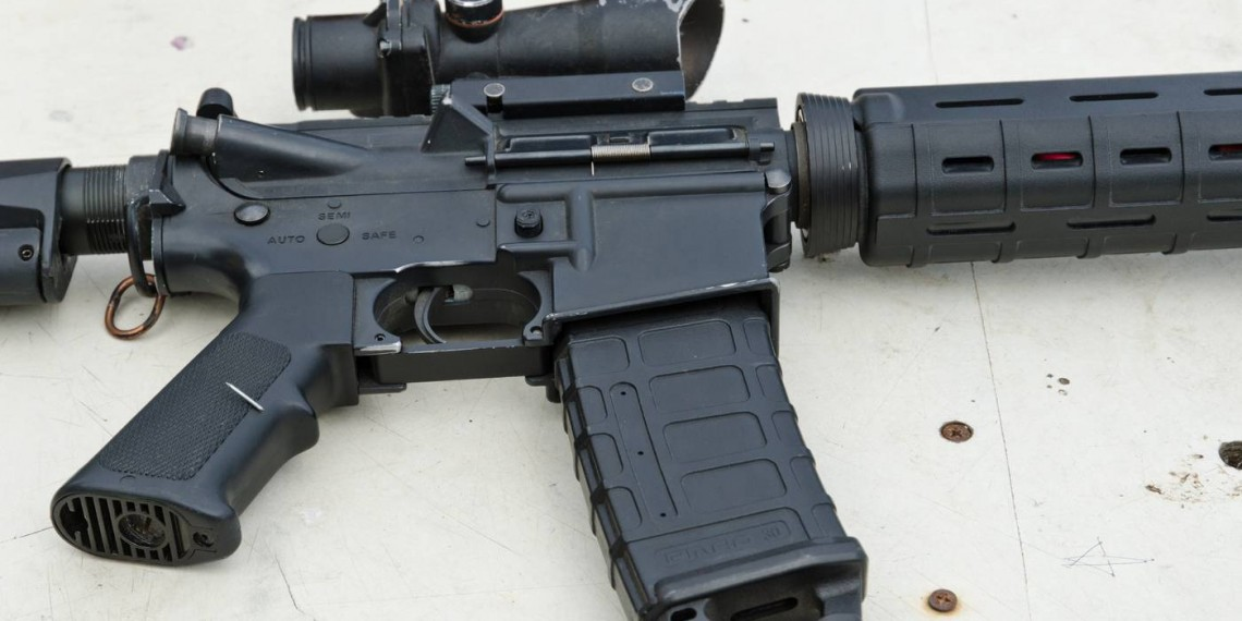 assault rifle AR15 military weapon with magazine and optic scope