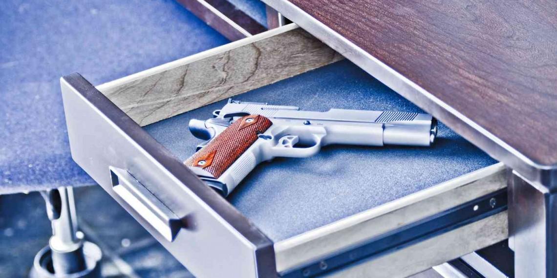 Handgun in gun drawer