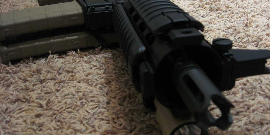 close up view of AR-15 Pistol