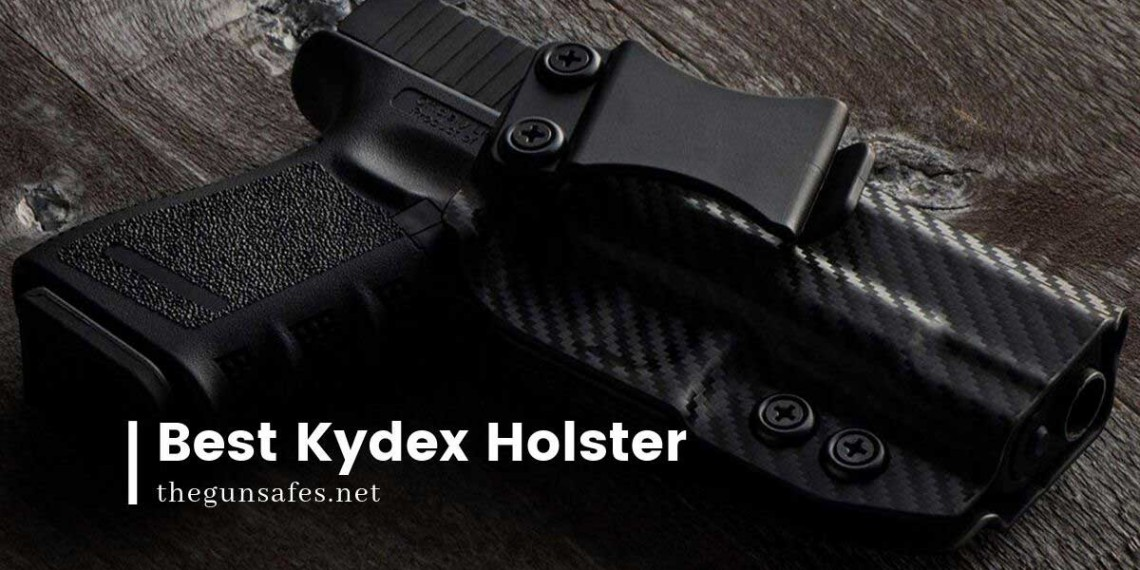 kydex holster on a wooden table